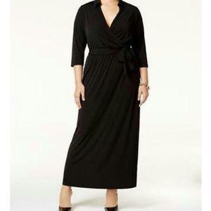 NY Collection Women's Plus Petite Faux-Wrap Dress